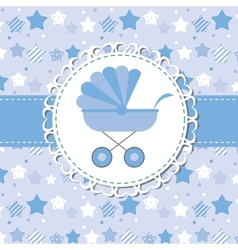 BLUE baby carriage for newborn boy vector image