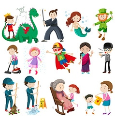 Different characters doing activities vector image vector image