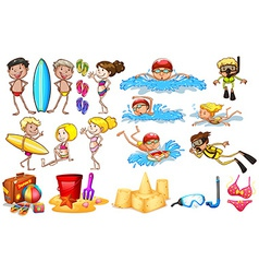 Group of kids enjoying summer vector image