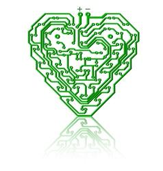 heart circuit board vector image vector image