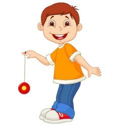 Little boy cartoon playing yo yo vector image vector image