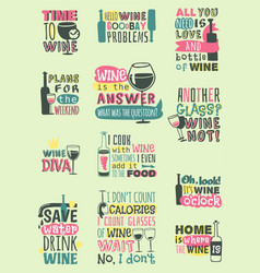 love wine drink quote motivation phrases hand vector image