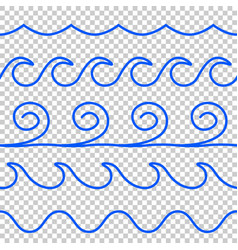 seamless blue wave line pattern vector image vector image