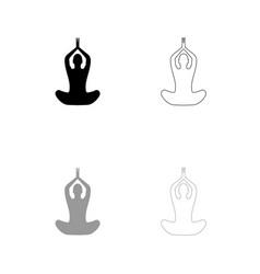 yoga pose of woman black and grey set icon vector image