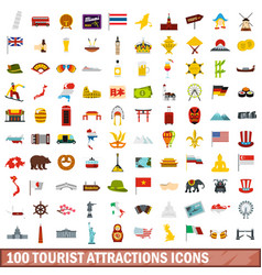 100 tourist attractions icons set flat style vector image