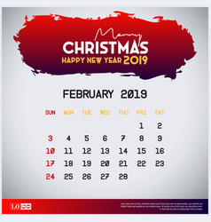 2019 february calendar template merry christmas vector image