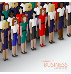 3d isometric of women business community a large vector image