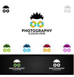Abstract geek camera photography logo icon design vector
