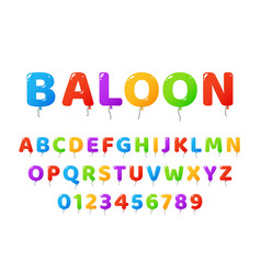 air balloons font colored letters and numbers vector image