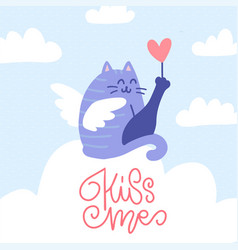 Angel cat sitting on a cloud with a heart in its vector