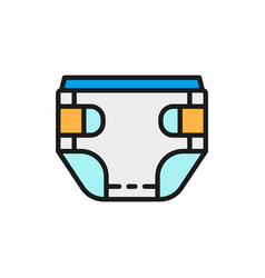 Baby absorbent diaper flat color line icon vector