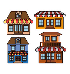 Background with colorful set of houses with vector