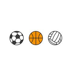 balls volleyball basketball football set set vector image