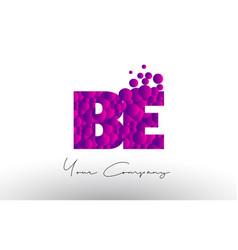 be b e dots letter logo with purple bubbles vector image