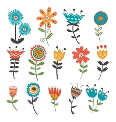 Beautiful collection of floral decorative elements vector image
