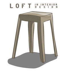 Beige stool loft in interior design eps 10 vector