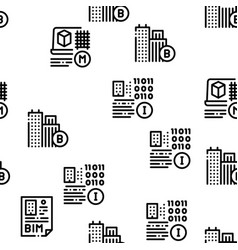 Bim building information seamless pattern vector