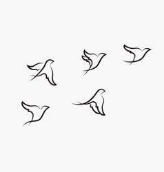 birds flying stylized hand drawn birds ill vector image