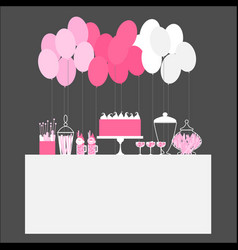 Birthday candy buffet with balloons wedding sweet vector