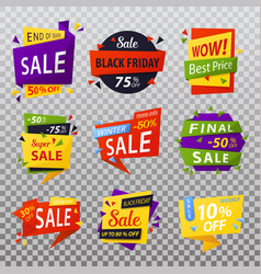 black friday isolated stickers or tags labels for vector image