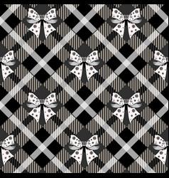 Black ribbon bow and tartan plaid seamless vector