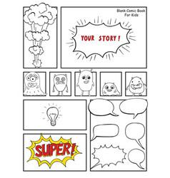 Blank comic book mock up with empty speech vector