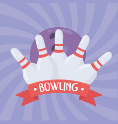 Bowling skittles with red stripes game vector