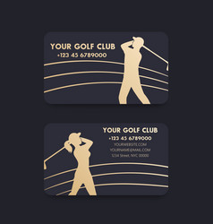 Business card design for golf club with players vector