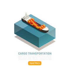 cargo ship isometric background vector image