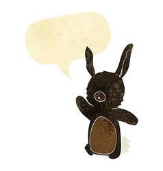 cartoon happy rabbit with speech bubble vector image
