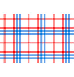 Check white textile with red and blue stripes vector