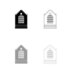 church building black and grey set icon vector image