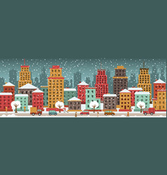 city in winter days vector image