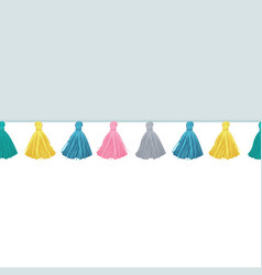 Colorful decorative tassels on fabric vector