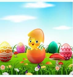 cute easter duckling in broken easter egg vector image