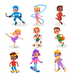 cute kids doing various kinds sports set boys vector image