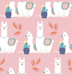 Cute llamas and colorful leaves and flowers vector