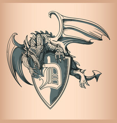 dragon with shield and letter d hand drawing image vector image