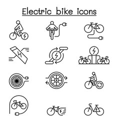 electric bike icon set in thin line style vector image