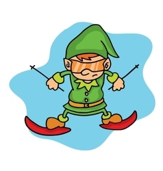 Elf playing ski on winter Christmas vector