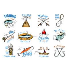 Fishing logo fishery logotype with vector