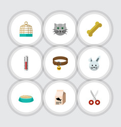 flat icon pets set of kitty bunny bird prison vector image