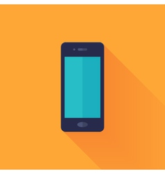 Flat mobile phone over orange vector image