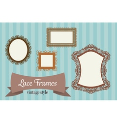 four shape lace border or frame template card vector image