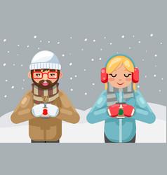 friends geek hipster couple winter hot drink tea vector image