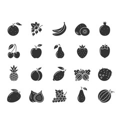 Fruit berry food black silhouette icon set vector