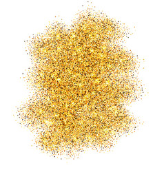 Gold glitter sand frame isolated on white vector