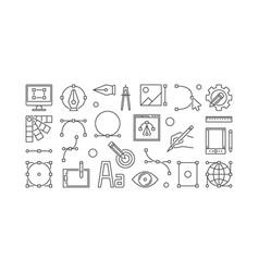 graphic design line horizontal banner vector image