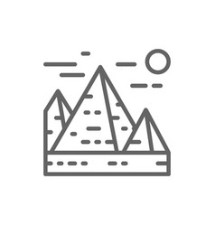 great pyramids in giza egypt landmark line icon vector image