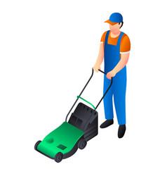Green lawnmower icon isometric style vector